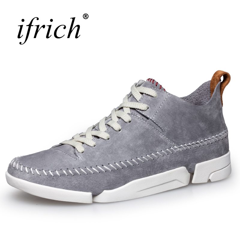 Ifrich New Leather Shoes Men Luxury Brand Comfortable Mens Shoes Fashion Leather Sneakers Lace Up Black Man Flat Footwear<br>