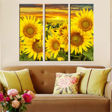 Hot Canvas Printed Sunflower Wall Painting Art Poster Modular Picture for Living Room Canvas Painting Art Works Unframed 3pcs(China)