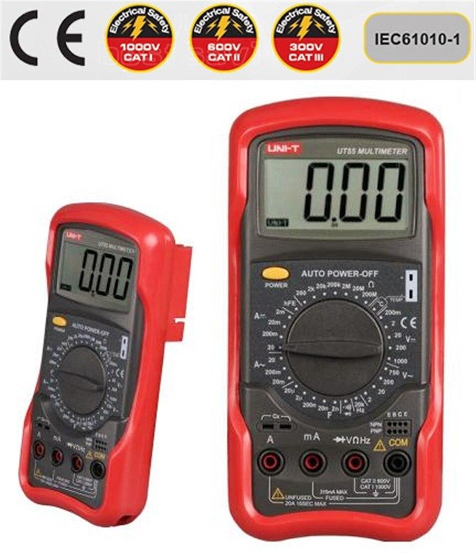 1000V 20A DMM AC DC Voltmeter Resistance Diode Temperature test Standard Digital Multimeter UNI-T UT55 Palmsize Max Holster<br>