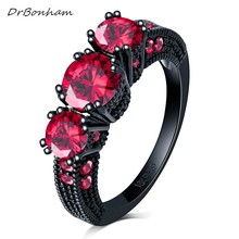 DrBonham Vintage Female clear AAA red gem Ring Black Gold Filled Wedding Rings For Women Birth Stone Girlfriend Gifts DR1721(China)