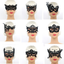 Mysterious Angel 9 Models Lace Mask New Girls Wholesale black A variety of shapes lace Ball Mask Halloween Masquerade Pictorial(China)
