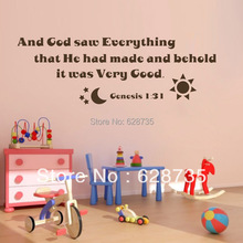 ebay hot selling and god saw everything... vinyl art bible verses wall decals stickers home decoration free shipping(China)