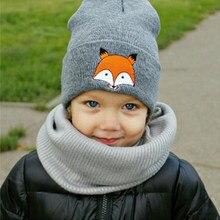 2018 otoño invierno Bebé sombrero para niño niña niños Cartoon Fox  casquillo caliente hecho punto sombrero 7746e33cce5
