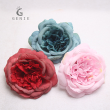 Genie 10cm Artificial Flowers Silk Rose Heads 3 Colors Camellia Tea Roses Wedding Car Party Home Table Decoration Fake Flowers