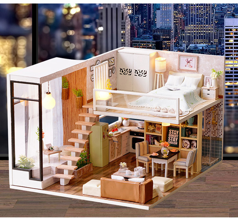 Wooden Miniature DIY Doll House Toy Assemble Kits 3D Miniature Dollhouse Toys With Furniture Lights for Birthday Gift L020 - Waiting Time (4)