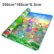 200*180*0.5cm Crawling Mat Double Surface Baby Play Mat Baby Carpet Rug Animal Car+Dinosaur Developing Mat for Children Game Pad(China)