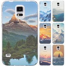 For Samsung S4 Splendid Mountain Landscape Boat TPU Silicone Pattern Case Back Skin Cover Cell Phone Protect