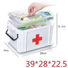 The box of the Red Cross first aid boxes plastic bin locker locker large medicine cabinet multilayer PCS household items(China)