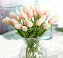 16pcs/lot New PU Real Touch Mini Tulips Artificial PU Flowers Wedding Home Decorative Flowers 9 color (no vase)(China)