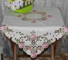 European satin Embroidery table cloth towel cover lace tea rectangular modern tablecloth manteles for wedding home decoration