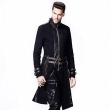 Steampunk Gothic Winter Jacket Men With High Collar 2017 Slim Fit Men's Jackets Long Coats For Homme Men's Windbreakers