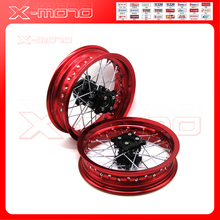"Pit bike Rims 15mm hole 3.00x12""inch & 2.50-12inch front and rear wheel whit CNC hub dirt bike CRF Kayo BSE Apollo part(China)"
