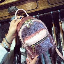 2017 New Designer High Quality PU Leather Women Shiny Mini Backpack Bag Celebrity Shoulder Crossbody Bags Fashion Girl Schoolbag