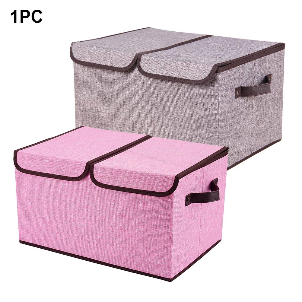 2 Lattice Organizer Non-woven Clothes With Lid Bedroom Storage Box Foldable  Cubes Bins Closet Handles Container Sundries