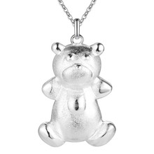 Cute animal design Silver Bear Pendant Necklace Fashion jewelry birthday gift woman / girl necklace Good quality and low price