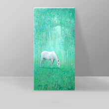 Nordic Modern Oil Painting Dream White Horse Green Abstract Painting Decorative Canvas Painting Inkjet Drawing Posters And Print(China)