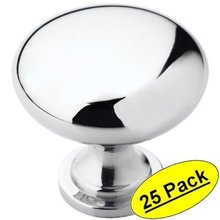 "KES HCK300-P25 Cabinet Hardware Round Mushroom Knob Polished Chrome 1-1/4"" Diameter, 25 Pack(China)"