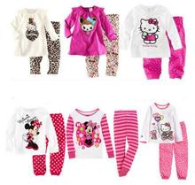 2017New Arrival spring children Sleepwears Minnie Mickey Boys Superman  Children boy and Girls Cartoon Pijamas Kids Clothing set