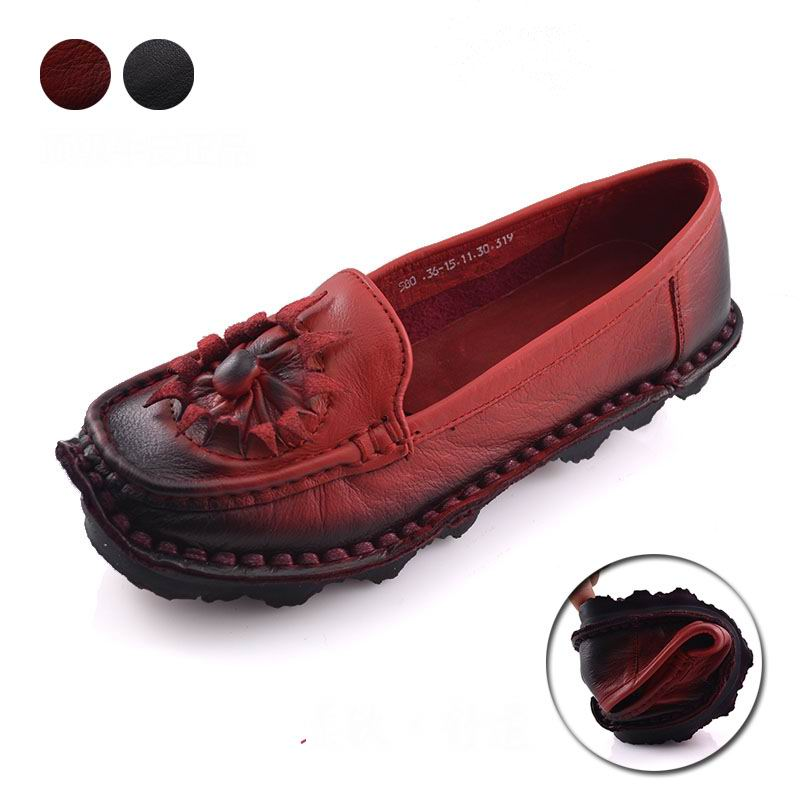 Handmade cowhide womens shoes vintage flower female moccasins loafers genuine leather cow muscle soft outsole shoes flats<br><br>Aliexpress