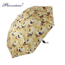 2017 new arrived Creative dog pattern umbrella Funny expression pack 3-folding Umbrella fashion woman metal Umbrella paraguas(China)