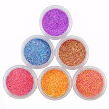 6pc/set Glitter Nail Powder For Nail Holographic Powder Candy Colors Polish Pigment 3D Nail Art Decorations(China)