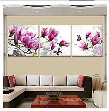Purple Pink Blue Wall Painting Flower Oil Painting on Canvas 3 piece Canvas Art HD Prints Wall pictures for Living Room(China)