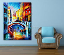 Palette Knife Painting USA Italy Venice Cities Charming Architecture Art Picture Printed On Canvas For Home Office Wall Decor