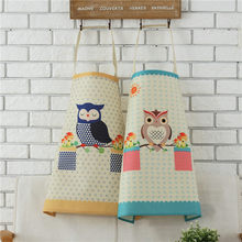 1pcs Cotton Linen Owl Flower Pattern Apron Woman Adult Bibs Home Cooking Baking Coffee Shop Cleaning Apron Kitchen Accessory(China)
