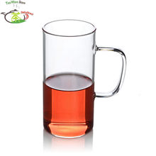 4 Pcs/lot 330ml/11 fl.oz Straight Flower Heat Resistant Glass Green Tea Cup w/Handle -  high quality reusable Glass