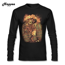 Drunken Pirate T Shirt Man Male Life Pirate Tshirts Long Sleeve Men's Tee shirts Pirate Tops(China)