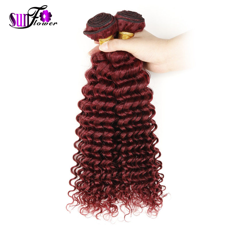 Cexxy hair 6a Peruvian Virgin Deep Curly human hair bundle 99J wine red hair Extensions Wholesales 2pc Lot 10-32 Inch mix length<br><br>Aliexpress