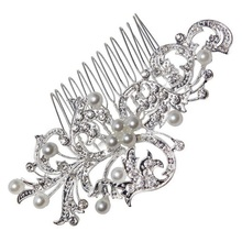 Hot  Pearl Hair Jewelry Comb Flower Leaf Shape for Wedding Inserted Bride Hair Headdress Pearl Comb