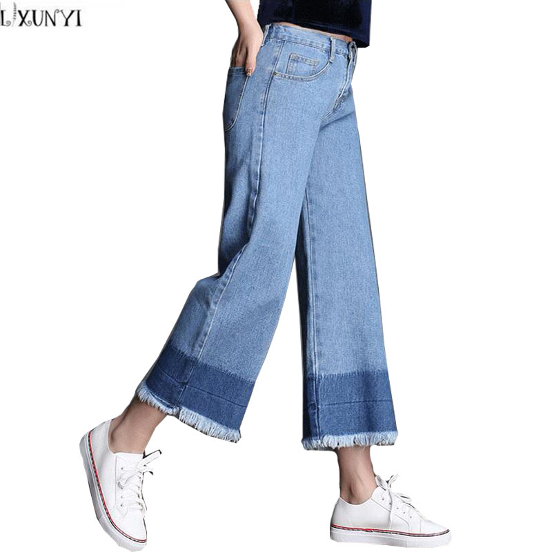 Wide leg jeans For Women Elastic Waist Tassels Patchwork Straight  jeans High Waist Ankle Length Denim Pants Plus Size S-2XLОдежда и ак�е��уары<br><br><br>Aliexpress