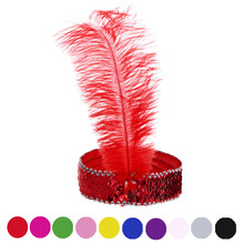 10 Colors Hair Accessories Feather Hair Band New Headband Headpiece Women Flapper Feather Headband Vintage Gatsby Party Hairband