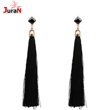 JURAN 3 Colors Fiber Tassel Long Drop Earrings for Bridal Women  Bohemia Fashion Wedding Party Jewelry P1408-1