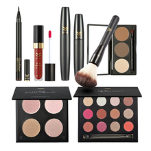 8pcs Makeup Kit Pro Cosmetics Powder Eyeshadow Mascara Eyebrow Lip Gloss Eyeliner Foundation Blusher Brush Make up Set