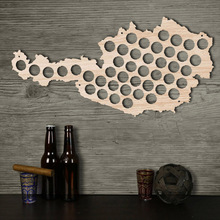 Free Shipping 1Piece Wooden Beer Cap Maps Beer Bottle Caps Map of Austria Wall Art For Cap Collector Beer Drinker Wood Crafts