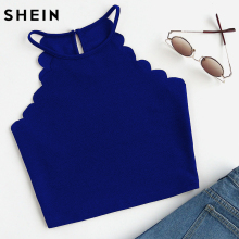 SHEIN Crop Tops Women 2017 Solid Blue Scallop Trim Halter Top Summer Women's Sleeveless Camisole Women Sexy Top(China)