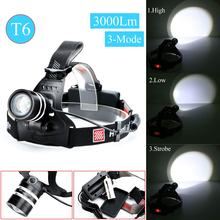 2017 3000 Lumens T6 LED Headlamp Headlight Zoomable XM-L T6 Head Lamp Light For Camping Hiking 1x18650 3xAAA Battery Top Quality