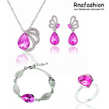 Buy New foreign trade act role ofing tasted Austrian crystal droplets necklace, earrings bracelet + ringB101+415+032 for $10.70 in AliExpress store