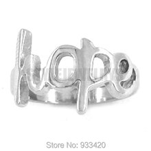 Free shipping! Hope Ring Letters Ring Stainless Steel Jewelry Classic Women Motor Biker Ring SWR0238B(China)