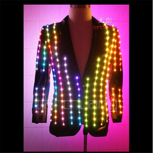 TC-19 Led luminous light jacket performance cloth ballroom programmable Magic dance costumes led robot suit colorful light wear(China)