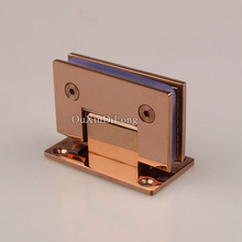 HOT 2PCS 304 Stainless Steel Frameless Shower Glass Door Hinges 90 Degree Fixed Clamps Holder Brackets Rose Gold/Titanium Black(China)