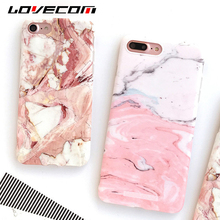 LOVECOM Light Pink Marble Stone Pattern IMD Soft Silicon Thin Anti Shock Mobile Phone Cases For iPhone 7 Plus 6 6S Plus Shell
