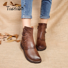 Tastabo Martin boots leather shoes folk style retro flat boots Warm Velvet women original casual shoe Winter Ankle Boots(China)