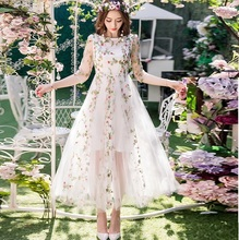 2017Spring Women beautiful long dress big bottom elegant party dress plus size mesh embroidery longos vestido de festa 4XL 98591