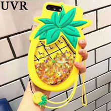 UVR 3D Cartoon Lemon Pineapple Soft Silicone Case Cover Carcasa Funda for iPhone 6 6S 7 Plus Quicksand Case Coque + Cute Lanyard