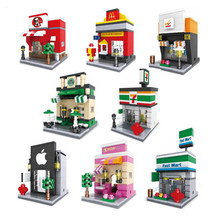 Loz Blocks Diamond Mini Street Architecture building blocks lepine City Mini Street View Scene  Coffee Shop Retail Store