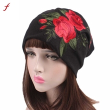Women Embroidery Cancer Chemo Hat Beanie Scarf Turban Head Wrap Cap Szalik Kapelusz(China)