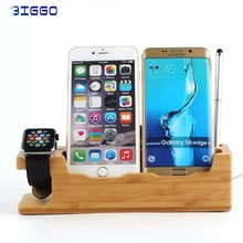 BIGMAX Latest Genuine Bamboo Charging Dock Charger Station Desk Stand Holder for Apple Watch 38/42mm and Plus And phone holder
